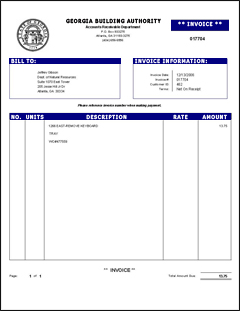 Billing Inquiries Georgia Building Authority .  Invoice Billing