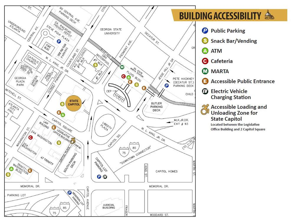 A map for the Georgia State Capitol and surrounding area. The accessible public entrance is on Mitchell Street. Also indicated on the map are suggestions for where to park, where to eat, the closest MARTA station, accessible public entrances to buildings, electric vehicle charging stations, and the accessible loading and unloading stations for the State Capitol.