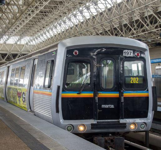 A MARTA train at a station.