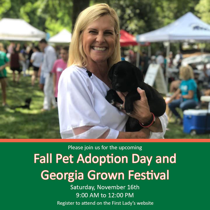 First Lady Marty Kemp is hosting a Fall Pet Adoption Day and Georgia Grown Festival at the Governor's Mansion on November 16th from 9am to 12pm.